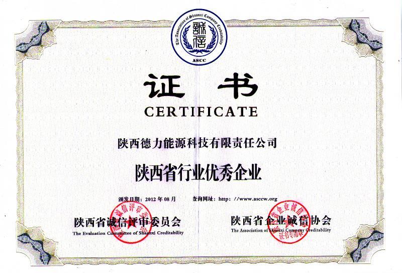 """2012年,被陕西省企业诚信协会评为""""陕西省行业优秀企业"""""""